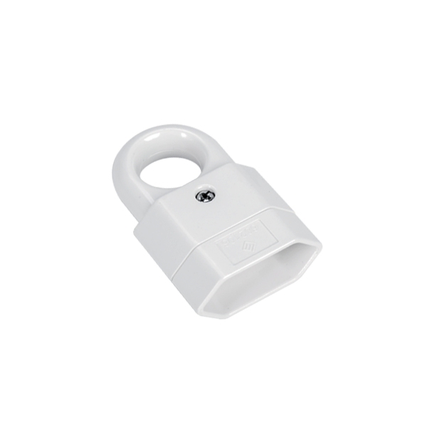 TWO POLE SOCKET WITH HOOK 10A WHITE