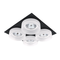 SA-045/4 QUADRUPLE DOWNLIGHT SQUARE BLACK/WHITE