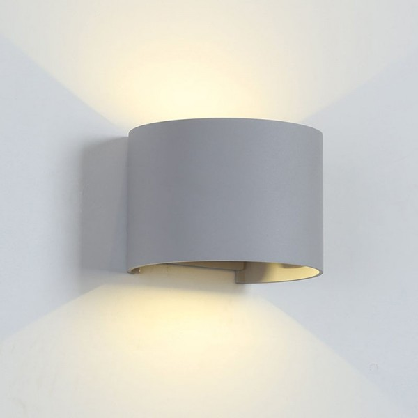 LED WALL LIGHT ROUND 2X5W 4000K IP54 GREY